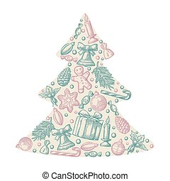 Set holiday objects in fir tree shape.
