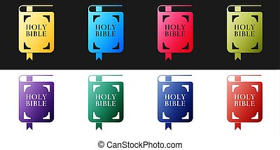 Set Holy bible book icon isolated on black and white background. Vector