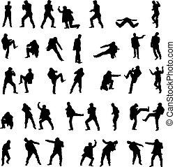 set., hombres, -, lucha, siluetas, vector