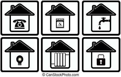 set home appliance on house - set black icons with house and...