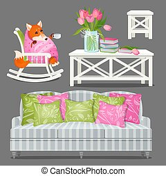 Set home furniture white color and a fox wrapped in a blanket isolated on a grey background. Wooden table with books and vase with tulips, rocking chair. Vector cartoon close-up illustration.