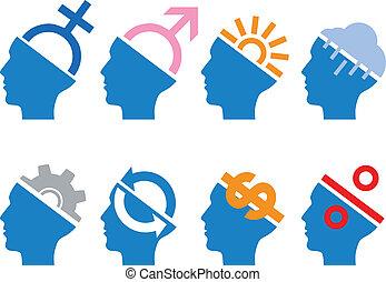 set, hoofd, vector, pictogram