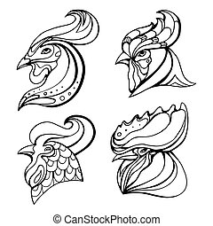 set, hoofden, logos, doodle, pattern., haan, boho, vector, ontwerp, postkaarten, element, jouw