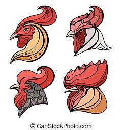 set, hoofden, logos, kleurrijke, doodle, pattern., haan, boho, vector, ontwerp, postkaarten, element, jouw