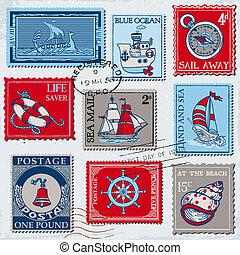 set, -, hoog, postzegels, vector, ontwerp, retro, zee, plakboek, post, kwaliteit