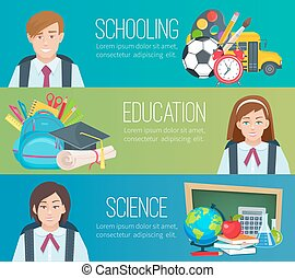 Set horizontal banners with school supplies and students