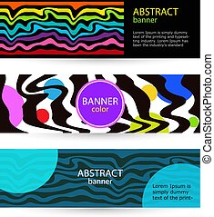 Set Horizontal color banners with rainbow waves on black background.