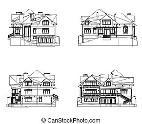 Four CAD elevations for a house front rear and sides