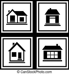 set house on white backgrounds icon