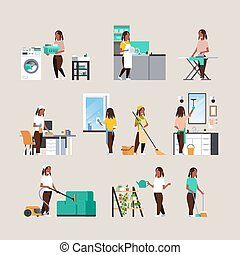 set housewife doing housework different housecleaning concepts collection african american female cartoon characters full length flat