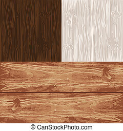 set, houten, eps10., vier, vector, textures.
