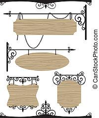 set, houten, ouderwetse , ijzer, tekens & borden, wrought