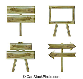 set, houten teken, vrijstaand, op wit, achtergrond
