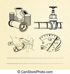 set., huile, icônes