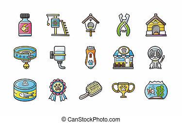 set, huisdieren, iconen