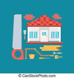 set, huizenbouw, onder, facade, gereedschap