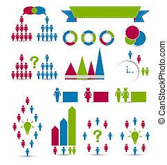 Set human infographic design elements