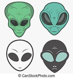 set, humanoid, gezicht, alien, vector, hoofd, pictogram