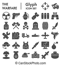 set., icône, guerre, arrière-plan., collection, isolé, signes, pictograms, graphics., logo, croquis, paquet, toile, style, solide, glyph, militaire, vecteur, symboles, blanc, illustrations