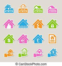 set., icônes, assurance, maison
