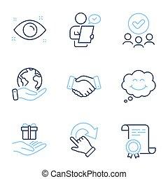 set., icônes, programme, sourire, loyauté, vecteur, employés, poignée main
