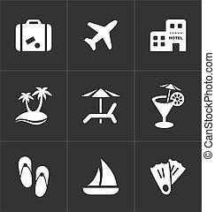 set., icônes, voyage, vacances, signes