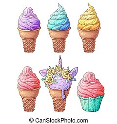 Set ice cream. Hand drawing. Vector illustration