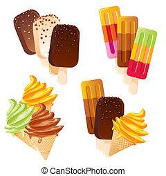 set of vector images of delicious ice cream