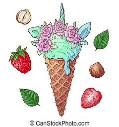 Set ice cream strawberry nuts. Vector illustration of hand drawing