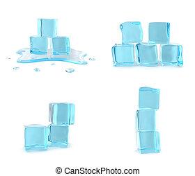Set ice cubes isolated on white background. 3d illustration