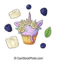 Set ice cup cake unicorn blackberry banana. Vector illustration