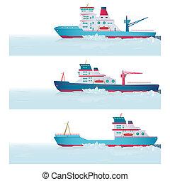 Set icebreakers - Icebreakers in the ocean. Vector...