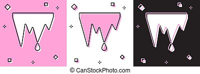 Set Icicle icon isolated on pink and white, black background...