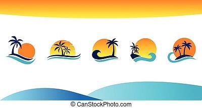 set icon beach vector