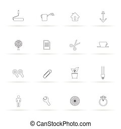 set icon black line vector