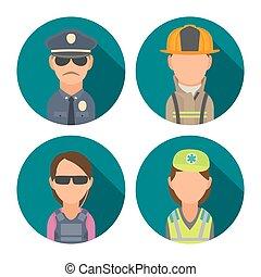 Set icon character people. Police, bodyguard, fireman, paramedic.