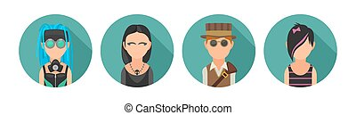Set icon different subcultures people. Cybergoth, emo, steampunk, goth.