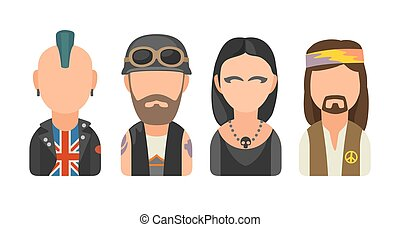 Set icon different subcultures people. Punk, biker, goth, hippy