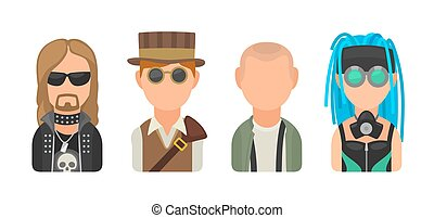 Set icon different subcultures people. Metalhead, steampunk, skinhead, cybergoth