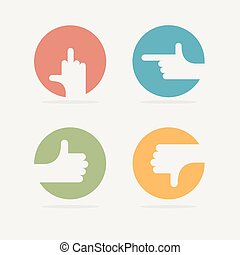 Set Icon hand gestures: fuck, good, bad, left. Vector illustration.