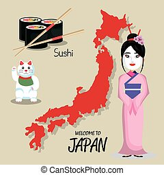 set icon japan traditional culture design vector...