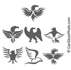 Set icon of eagles symbol isolated on white background