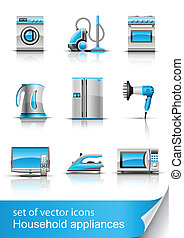 household appliances vector - set icon of household...