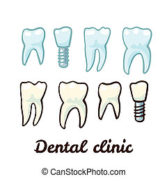 Set icon of teeth  and tooth with a pin.
