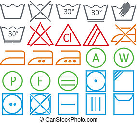 Vector icon set of washing signs and care label.