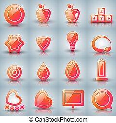 Set icon on the grey background. - Set icon - apple, arrows,...