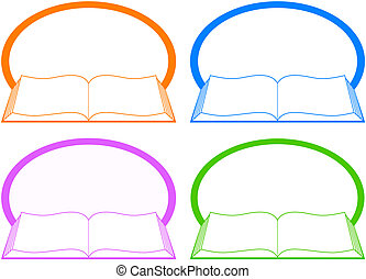 set icon with book and place for te - set colorful icon with...