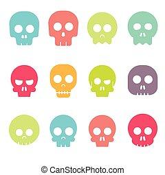 set, icona, cranio, vettore, cartone animato