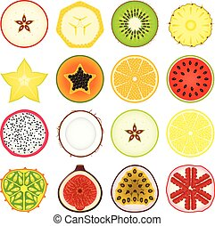 set, icona, frutte