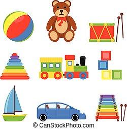 set, icona, giocattoli